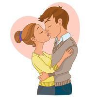 coppia che si bacia con sfondo di cuore vettore
