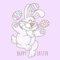 piccolo coniglietto di pasqua e uova di Pasqua vettore