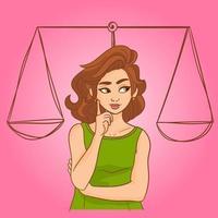ragazza che pensa in scale di giustizia vettore
