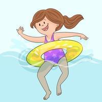 bambino in piscina su anello di limone giallo gonfiabile vettore