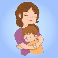 figlio che abbraccia la madre vettore