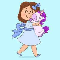 bambino con il suo unicorno giocattolo vettore