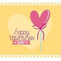 felice giorno di San Valentino carta con palloncino vettore
