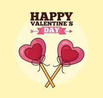 celebrazione di San Valentino con lecca-lecca di cuori vettore