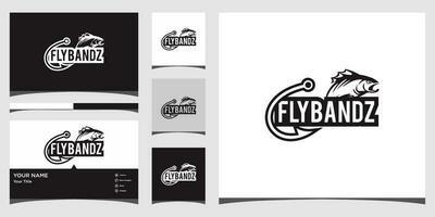 modelli di logo di pesca e design di biglietti da visita vettore Premium