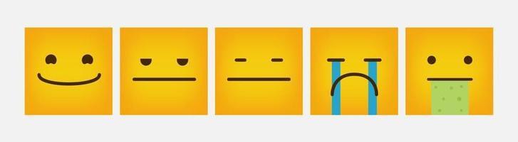 design emoticon quadrato reazione set piatto - vettore