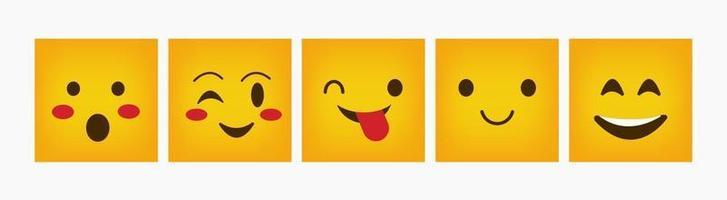 emoticon design quadrato reazione set piatto