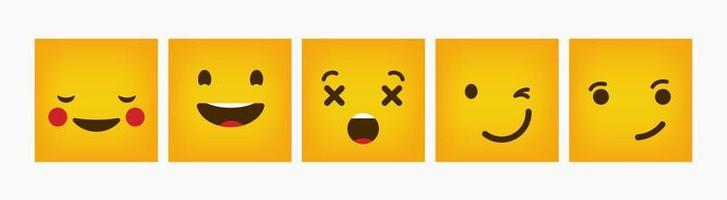 set piatto emoticon di reazione quadrata di design
