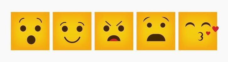 set piatto emoticon quadrato design reazione
