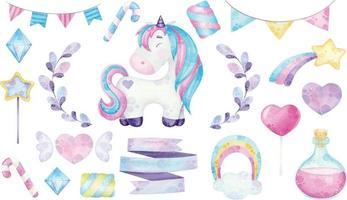 illustrazioni di unicorno carino acquerello con design magico vettore