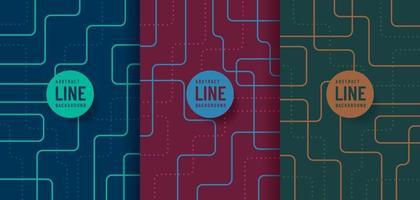 raccolta di sfondo astratto tecnologia futuristica linee curve di colore blu rosso e verde con spazio di copia. modello di linea a strisce di colore alla moda semplice e minimale. design piatto. illustrazione vettoriale