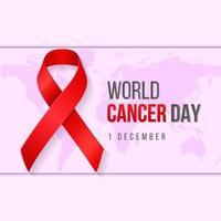 illustrazione realistica della priorità bassa di giornata mondiale del cancro con il simbolo del nastro. illustrazione vettoriale.