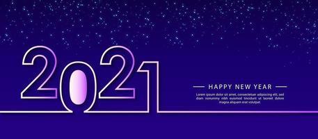 modello di progettazione di felice anno nuovo 2021 creativo per biglietti di auguri, poster, banner, illustrazione vettoriale. isolato su sfondo blu.