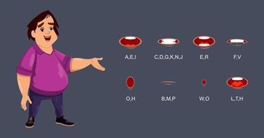 simpatico personaggio con collezione di sincronizzazione labiale per animazione o motion design.