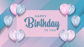 festa di buon compleanno con palloncini realistici 3d per biglietto di auguri di compleanno. banner festa, anniversario. illustrazione vettoriale.