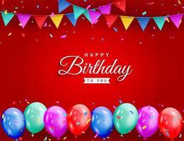 celebrazione di buon compleanno su sfondo rosso con palloncini colorati, coriandoli glitter e sfondo di nastri per biglietto di auguri, banner festa, anniversario.