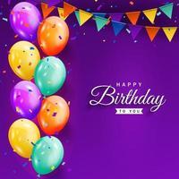 festa di buon compleanno con palloncini colorati, coriandoli glitter e sfondo di nastri per biglietto di auguri, banner festa, anniversario.