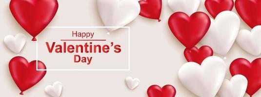 banner web orizzontale felice giorno di san valentino. cuore rosso e bianco realistico