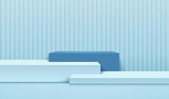 display cubo astratto per prodotto sul sito Web dal design moderno. rendering di sfondo con podio e scena di parete trama blu chiaro minima, rendering 3d disegno di forma geometrica. illustrazione vettoriale