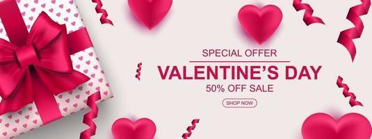 banner web di vendita di san valentino. confezione regalo realistica con fiocco, cuore e coriandoli