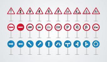 vettore di raccolta segnali stradali. raccolta di avvertenze, segnali stradali di informazioni, simboli di pericolo, sicurezza dei trasporti. illustrazione vettoriale.