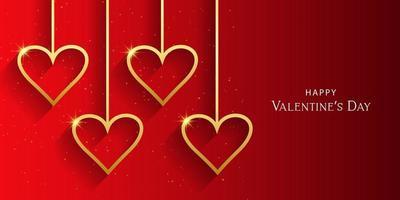 bellissimo cuore San Valentino in illustrazione sfondo rosso.