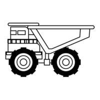macchine per veicoli minerari veduta laterale isolata in bianco e nero