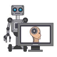 fumetto di concetto delle icone di intelligenza artificiale