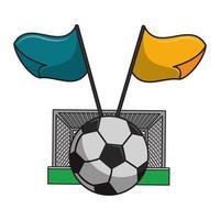 porta da calcio, palla e bandiere in bianco e nero