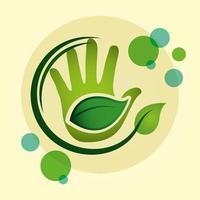 poster ecologico con mano e foglie