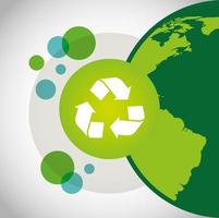 poster ecologico con pianeta terra e simbolo di riciclo