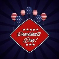 celebrazione del giorno dei presidenti con scritte e palloncini