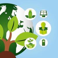 poster ecologico con pianeta terra e icone