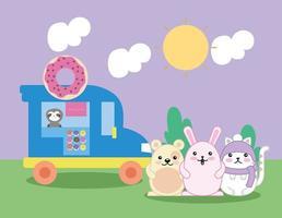 simpatici animaletti nel campo con camion ciambelle, personaggi kawaii