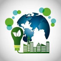 poster ecologico con edifici della città
