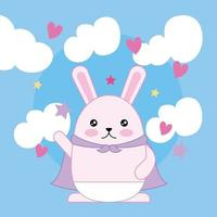 kawaii simpatico coniglietto con nuvole