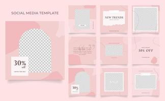 promozione di vendita di moda di blog di banner modello di social media. poster di vendita organica di puzzle con cornice quadrata completamente modificabile. sfondo vettoriale bianco rosa rosso