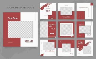 promozione di vendita di moda di blog di banner modello di social media. poster di vendita organica di puzzle con cornice quadrata completamente modificabile. sfondo vettoriale bianco rosso