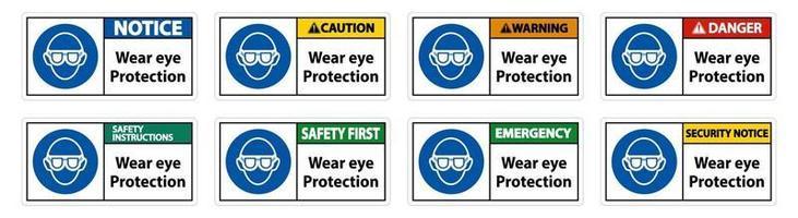 indossare una protezione per gli occhi su sfondo bianco