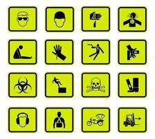 avvertimento pericolo simboli etichette segno isolato su sfondo bianco vettore