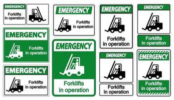 carrelli elevatori di emergenza in segni di simbolo di funzionamento isolati vettore