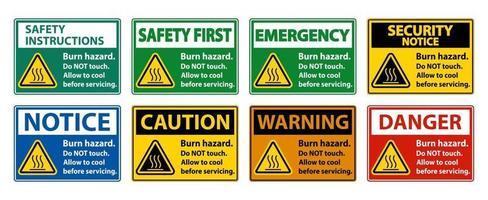 bruciare la sicurezza del rischio, non toccare il segno dell'etichetta su sfondo bianco vettore