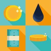 set di icone di goccia e denaro di petrolio