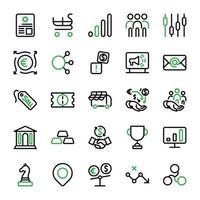 marketing aziendale e disegno dell'icona di investimento con contorno lineare. vettore infografica
