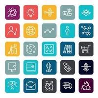 business marketing online o investimento finanziario beneficiare o restituire icone con contorno su forma quadrata di colore. vettore infografica.