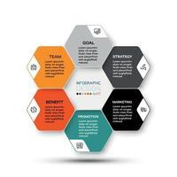 il design esagonale di piattaforme aziendali o aziendali vettoriali presenta e descrive i processi di lavoro. illustrazione infografica.