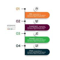 flusso di lavoro della forma dell'etichetta 4 passaggi che descrivono le procedure di lavoro, mostrando i processi e le funzioni di lavoro. progettazione infografica.
