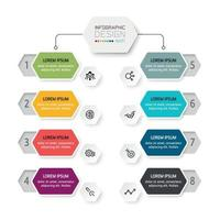 organizzazione del design esagonale, 8 fasi operative, spiegare il piano di lavoro, incontrare e presentare. vettore infografica.