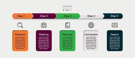 il flusso di lavoro in un formato quadrato è applicabile ad aziende, istruzione, commercio o altre organizzazioni. progettazione di infografica. vettore