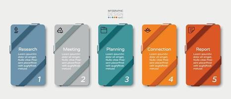 quadrato con design a nastro, 5 passaggi per la presentazione e la pianificazione aziendale. disegno vettoriale infografica.